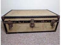 Antique / vintage chest trunk suitcase LARGE