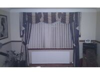 Cream / Blue fully lined living room / dining room curtains and pelmet