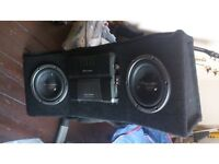 "PIONEER AMP & TWO 10"" SUBS IN CUSTOM MADE BOX + 6CD CHANGER"