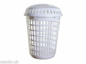 Linnen laundry basket with lid plastic round white ebay - Plastic hamper with lid ...