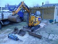 Mini micro digger hire Poole Wimborne tree root removal walls Ferndown Bournemouth drainage builder