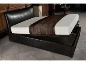 BRAND NEW SINGLE / DOUBLE / SMALL DOUBLE or KINGSIZE LEATHER OTTOMAN STORAGE BED FRAME WITH MATTRESS