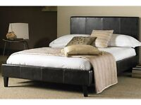 Double Leather Bed Frame And Mattress on Sale! Black / Brown