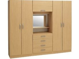 BRAND NEW-Bedroom Fitment With 4 Door Wardrobe-Central Dresser, Drawers, Mirror||Massive Storage||