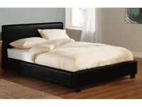 SAME DAY IN LONDON-- BRAND NEW DOUBLE OR KING ITALIAN LOW FRAME LEATHER BED WITH ORTHOPEDIC MATTRESS