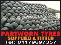 PART WORN TYRES & NEW TYRES (FREE FITTING) OVER 3000 QUALITY PART WORN TYRES UNDER ONE ROOF