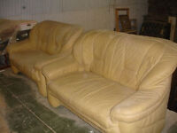 2 double seated lether sofa