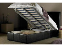 double, storage, ottoman, lift leather bed, both, with memory, spring mattress.