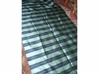 Navy blue and Jade striped silk fabric for curtains or upholstery - 8m x 1.25m