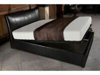 BRAND NEW SINGLE / DOUBLE OR SMALL DOUBLE / KING SIZE LEATHER STORAGE OTTOMAN BED FRAME + MATTRESSES