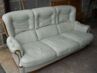 Ice green leather sofa