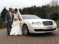 Pearl White Bentley Continental Flying Spur Hir