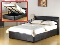 BRAND NEW SINGLE / DOUBLE OR SMALL DOUBLE / KINGSIZE LEATHER STORAGE OTTOMAN BED FRAME WITH MATTRESS