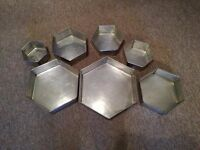 """Nest of 7 Octagonal Metal Cake Tins 3"""" Deep"""