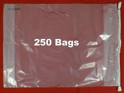 "250  Drawstring Tote Clear Plastic Bags 10"" X 15"" X 3"""