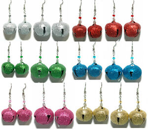 GLITTER-CHRISTMAS-JINGLE-BELL-DANGLE-EARRINGS-6-COLORS-2-SIZES-U-PICK
