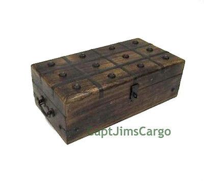 "Pirate Treasure Chest 12"" Nautical Storage Keepsake Box Wooden Trunk Decor New"