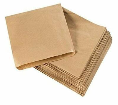 Cosmall 200 x Brown Strung Kraft Paper Food Bags food use, 10 x 10 inch