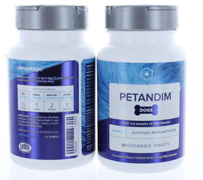 Lifevantage Petandim for Dogs Nrf2 30 Chew tablets Reduce Oxidative Stress 2 Pac