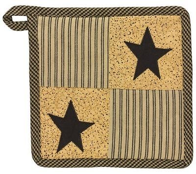 Country PRIMITIVE STAR Pot Holder Patchwork Ticking Black Tan Rustic Farmhouse