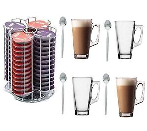 56 Tassimo Coffee Capsule Holder With 4 Free Latte Glasses & Spoons!