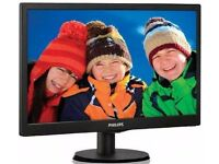 "Philips V-Line LED Black Monitor Colour Display 193V5 18.5"" - Brand New in Box"