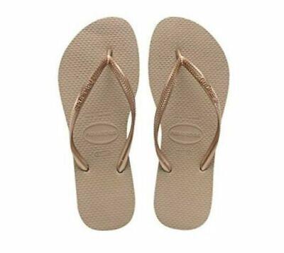 NWT Original Havaianas Brazil Womens Slim Flip Flops Rose Gold Free Shipping