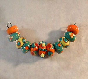 LGL Handmade Lampwork Beads - SUMMER DANCE - Sra - DIY - Artist Glass - Craft