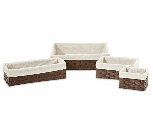 Set of 4 Woven Storage Baskets with Removable Linen Liners  Nesting Baskets