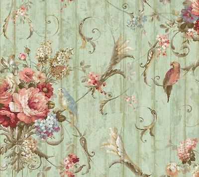 York Wallcovering Victorian Bird Floral Wallpaper HA1326 Parrots 27 foot roll