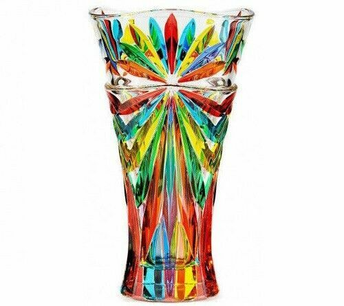 Murano Glass Large Crystal Vase, Hand Painted, Colorful - Made in Italy