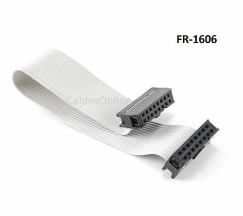 6 inch 16-Pin 2x8-Pin 2.54-Pitch Female 16-Wire IDC Flat Ribbon Cable, FR-1606