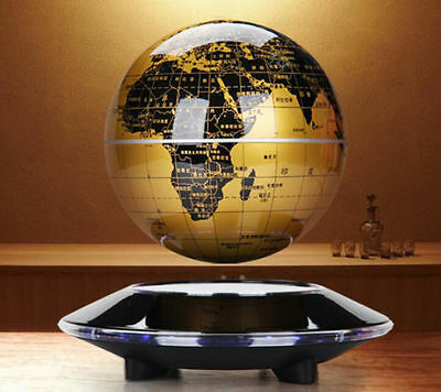 "6""Gold Levitation Magnetic Rotating Globe Lon Floating Levitating Earth Map USA"