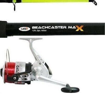 Beachcaster 12ft 2PC Beach Rod 4-6 OZ Sea Fishing & Reel Combo With Line