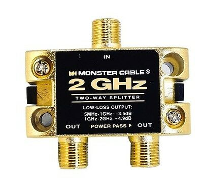 Monster Cable Low-Loss RF Splitter for Cable & Satellite TV - 2 Way - 2 GHz