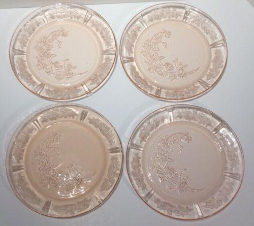 Vintage Pink Glass Plates Ebay