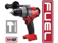 MILWAUKEE 2604-20 M18 18 VOLT FUEL HAMMER DRILL DRIVER Bare Red Lithium + Handle 2017