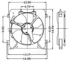 Auxiliary Fan Assembly For 1996-1998 Honda Civic 1997