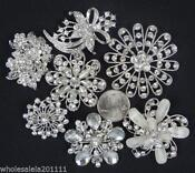 Clear Rhinestone Brooch Lot