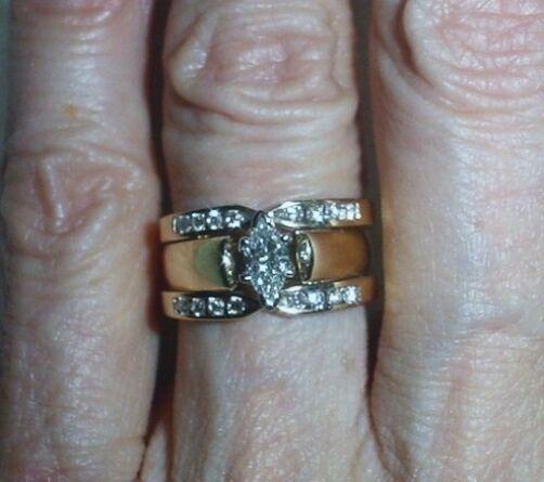 14K ESTATE DIAMOND RING GUARD SET - SIZE 5.25 -  LB1544