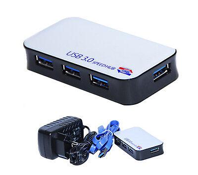 4 Fach Port USB 3.0 HUB Verteiler SuperSpeed Adapter mit Netzteil und USB Kabel