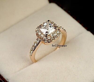 Elegant Jewelry 18K Rose Gold GP Austrian Crystal Wedding Party Ring BR1021