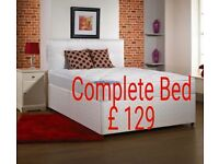 new double divan bed set with mattress & headboard £129 new double bed set £129