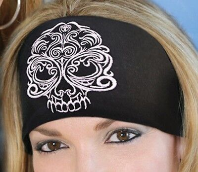 NEW HANDMADE BLACK BAROQUE HEADWRAP KNOTTY BAND BANDANA HAIR WRAP SILVER SKULL