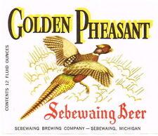 Unused 1950s Sebewaing Sport Beer Pheasants 12oz Label Tavern Trove Michigan