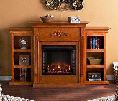 Electric Fireplace Pine Mantle and Bookcase Flame Firebox Heater Portable