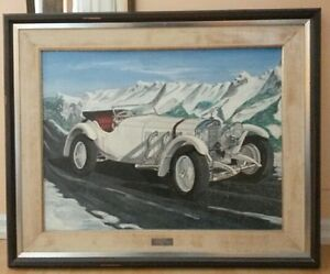 Beautiful large PAINTING of Mercedes SSK 1929