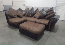 🌞 SCS - Fabric L-Shape Corner Sofa with Pouff/Sofa bed