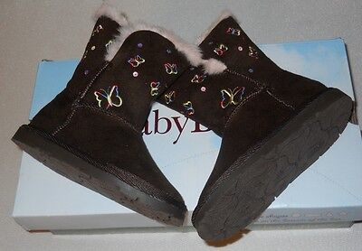 """New girls BASS """"LOCKET"""" STYLE BROWN BOOTS WITH BUTTERFLIES Size 8"""