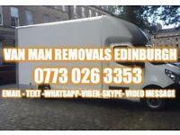 Van man removals Edinburgh local long distance same day scrap clearances